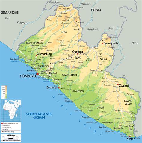 map of liberia physical map of liberia ezilon maps