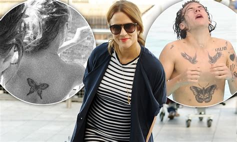 harry styles tattoo daily mail caroline flack gets butterfly tattoo on her back just like