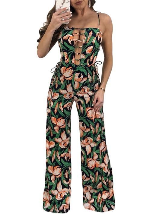 green pattern jumpsuit lace up neck detail green floral wide leg jumpsuit