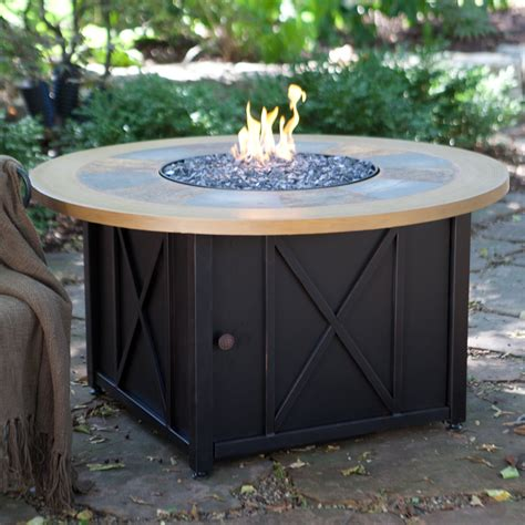 uniflame propane pit uniflame slate and faux wood lp gas firebowl with