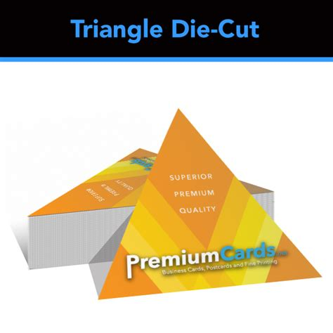 triangle shaped business card template 28pt duplex uncoated die cut business cards premiumcards