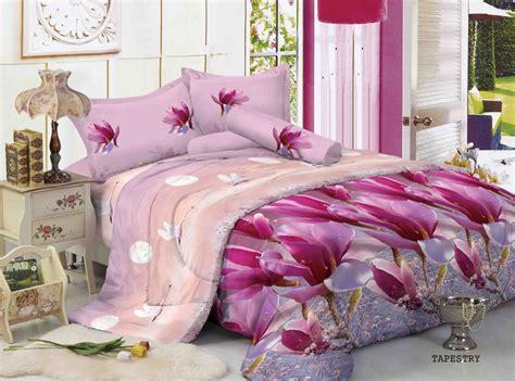 Sprei Kintakun Luxury 160x200 Motif Viviani tapestry design bunga berkombinasi warna pink dan ungu
