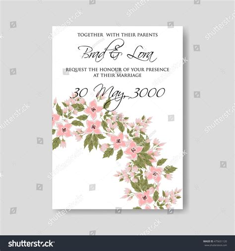 wedding ceremony invitation card template wedding ceremony invitation card tropical floral stock
