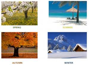 There are four seasons that happen in a year spring summer autumn