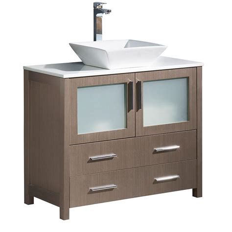 fresca torino 36 in bath vanity in gray oak with glass