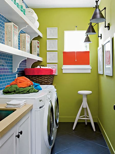 Blue Subway Tile Contemporary Laundry Room My Home Ideas Green Laundry
