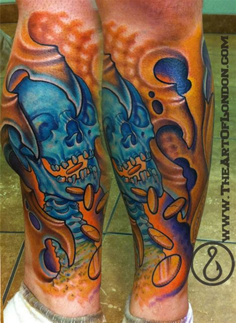 greed tattoo greed money skull bio mech by reese tattoonow