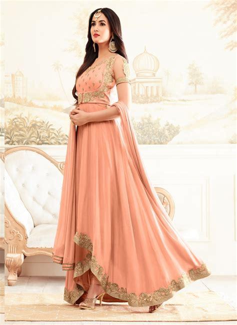 sonal chauhan designer suits sonal chauhan peach party wear designer suit
