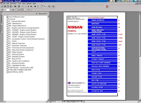 Nissan Primera P11 Infinti G20 Workshop Manual On Cd