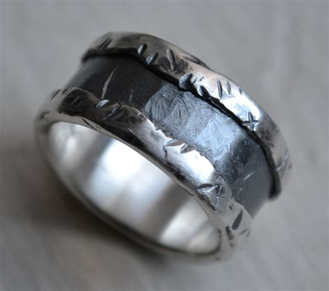 Handmade Mens Ring - mens wedding band silver and sterling silver ring
