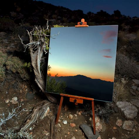 california museum of knitting arts and embroidery sciences mirrors on easels create the illusion of desert landscape