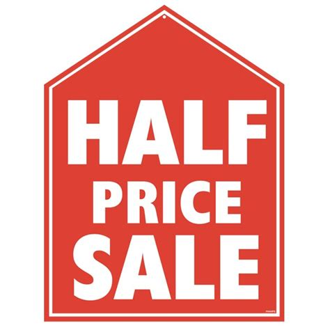 Half Com Gift Card - half price sale display sign half price sale sign shop sign half price sale