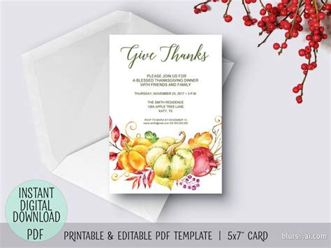 editable thanksgiving invitation template give