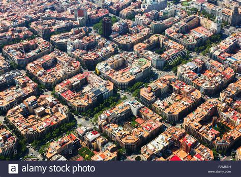 barcelona aerial view aerial view of eixle district barcelona spain stock
