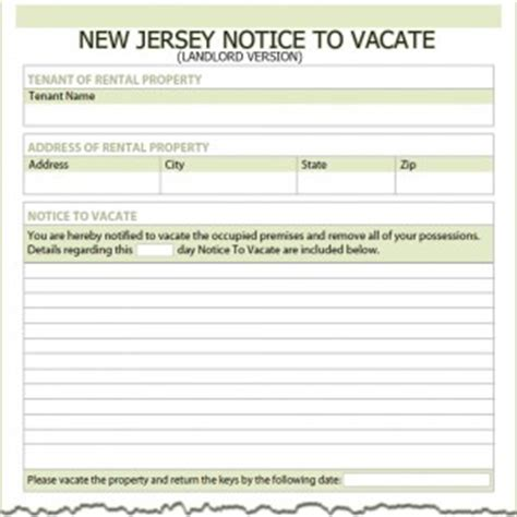 Tenant Eviction Notice New Jersey New Jersey Landlord Notice To Vacate