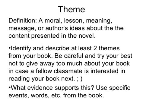 Themes Book Meaning | fiction book project presentation template