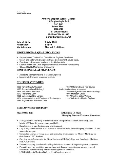 Sle Resume Marine Electrician Profile Resume Sle 28 Images Pwc Accounting Resume Sales Accountant Lewesmr Assistant