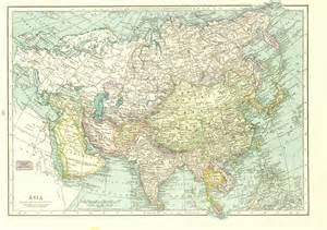 1930s vintage map asia large map to frame