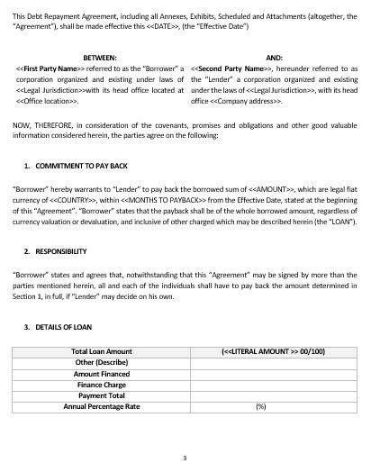 Ne0204 Debt Repayment Agreement Template English Namozaj Debt Forgiveness Agreement Template