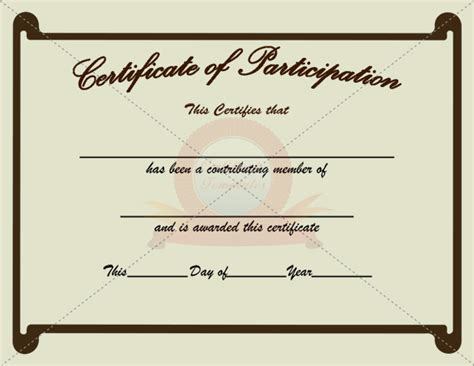 participation certificate template 5 the best template collection
