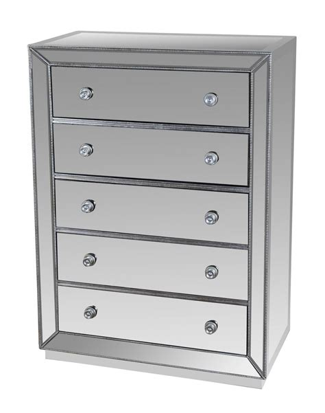 5 Drawer Mirrored Chest by T1803 5 Drawer Silver Mirrored Exclusive Chest