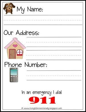 Phone Lookup By Name And Address Printable Teach Your Their Name Address And Phone Number Also 911