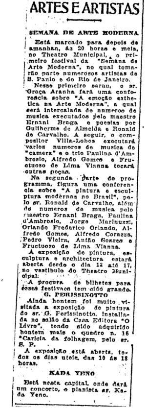 15 de fevereiro de 1922: os modernistas de topete exacerbado