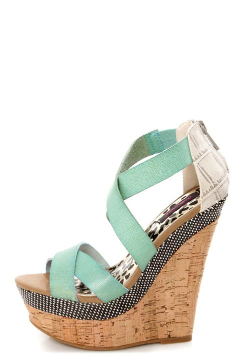 dollhouse precise mint cork platform wedge sandals 42 00