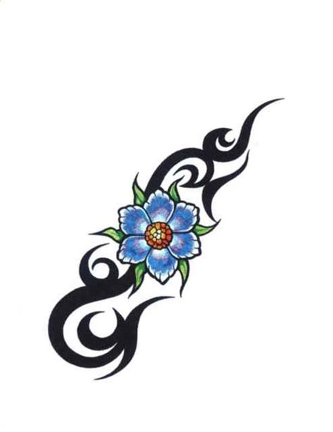 blue flower tattoo designs blue tribal flower free design ideas