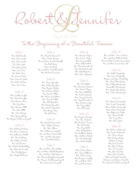 wedding seating chart printable digital file by