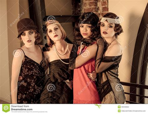 tone and theme of the great gatsby four beautiful vintage women celebrating gathering s great