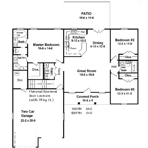 5 sq feet ranch style house plan 3 beds 2 5 baths 1400 sq ft plan