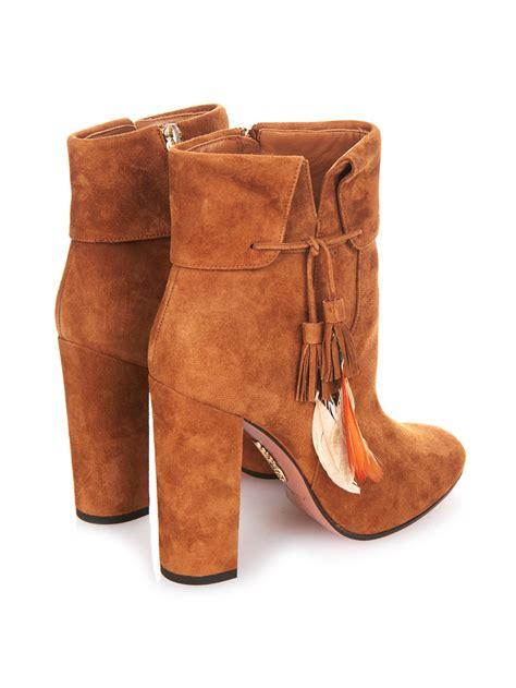 aquazzura boots aquazzura coachella suede ankle boots in brown lyst