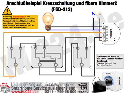Kreuzschaltung Mit Bewegungsmelder by Anschlu 223 Beispiel Kreuzschaltung Und Fibaro Dimmer2 Fgd