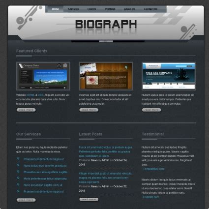 biography website templates free download biograph free website templates in css html js format