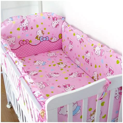 Promotion 6pcs Cartoon Baby Bedding Set For Girls Baby Crib Bedding Sets 100