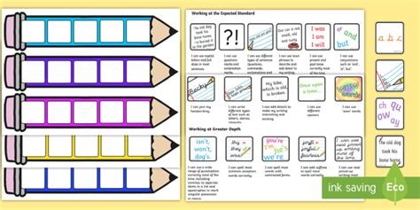 Target Card Template Ks2 by End Of Ks1 Expectations Writing Editable Pencil Cards