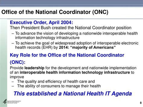 Office Of National Coordinator by Ppt Toward An Electronic Health Infrastructure For The