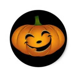 happy pumpkin face for halloween fun classic round sticker