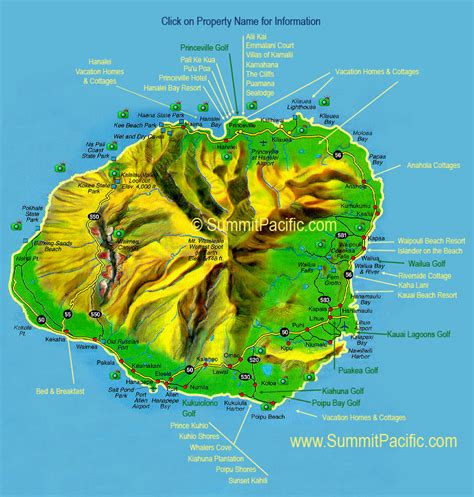 kauai resort map kauai maps kauai highway map kauai resort map