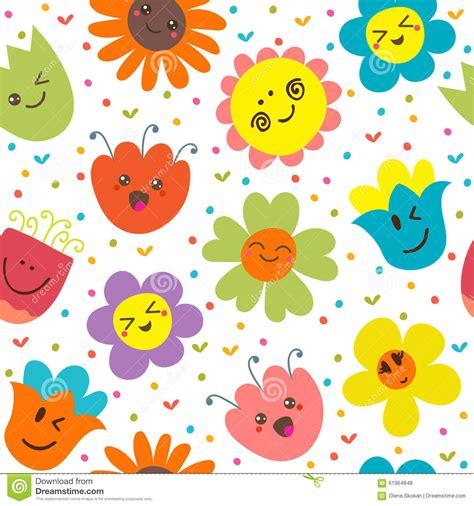 cute cartoon pattern seamless pattern with funny flowers cute cartoon