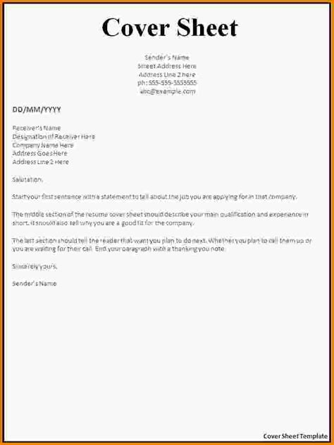 cover sheet for resume fax cover letter template for word