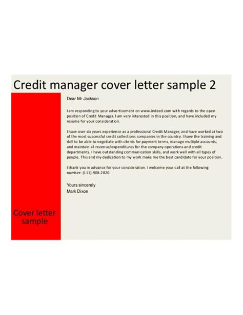 Business Credit Manager Cover Letter Samples and Templates
