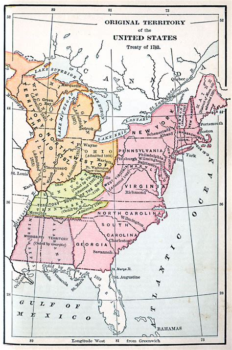 united states in 1783 map original territory of the united states