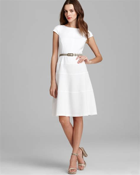 Anne Klein Swing Dress Cap Sleeve In White Lyst