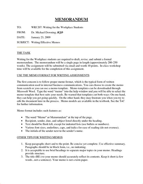 template for writing a memo 8 memo format memo formats