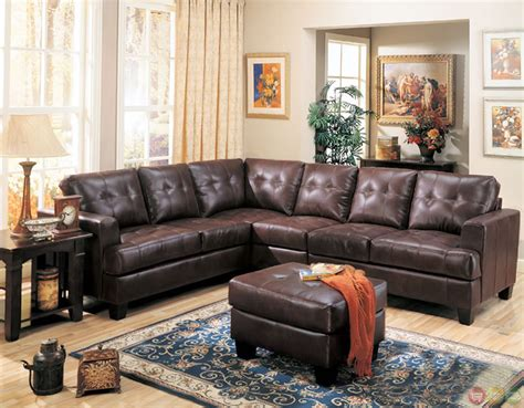 leather sectional with ottoman samuel brown bonded leather sectional sofa contemporary l