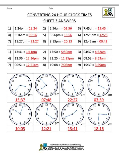 printable clock with military time 24 hour clock conversion worksheets