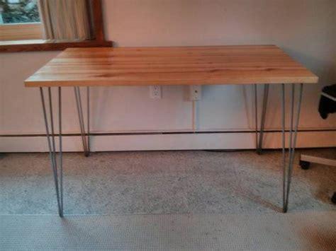 metal bench legs ikea hairpin leg desk table with raw steel legs using ikea