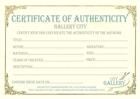 letter of authenticity template certificate of authenticity for artwork free